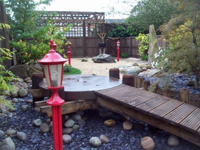 A garden with a Japanese theme